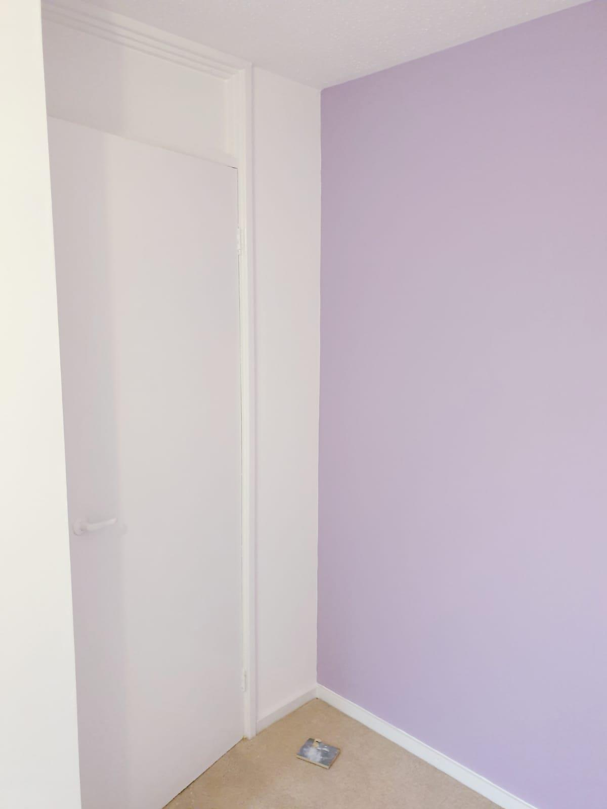 Bedroom Walls cross lined and Painted